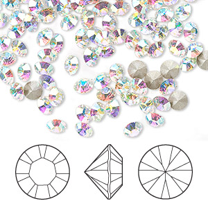 chaton, swarovski crystal rhinestone, crystal ab, foil back, 4-4.1mm xilion round (1028), pp32. sold per pkg of 144 (1 gross).