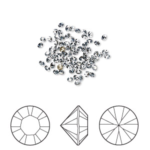 chaton, swarovski crystal rhinestone, crystal blue shade, foil back, 1.7-1.8mm xilion round (1028), pp11. sold per pkg of 1,440 (10 gross).