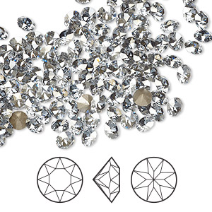 chaton, swarovski crystal rhinestone, crystal blue shade, foil back, 4-4.1mm xirius round (1088), pp32. sold per pkg of 1,440 (10 gross).