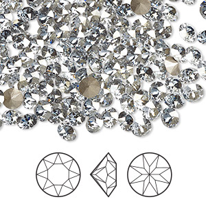 chaton, swarovski crystal rhinestone, crystal blue shade, foil back, 4.4-4.6mm xirius round (1088), ss19. sold per pkg of 1,440 (10 gross).