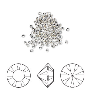 chaton, swarovski crystal rhinestone, crystal clear, foil back, 1.5-1.6mm xilion round (1028), pp9. sold per pkg of 144 (1 gross).