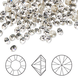 chaton, swarovski crystal rhinestone, crystal clear, foil back, 4-4.1mm xilion round (1028), pp32. sold per pkg of 1,440 (10 gross).
