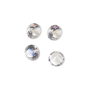 chaton, swarovski crystal rhinestone, crystal clear, ss38 faceted round (1325). sold per pkg of 4.