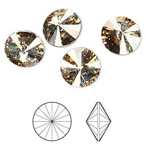 chaton, swarovski crystal rhinestone, crystal golden shadow, foil back, 12mm faceted rivoli (1122). sold per pkg of 144 (1 gross).