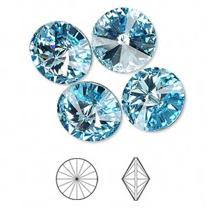 chaton, swarovski crystal rhinestone, crystal passions, aquamarine, foil back, 14mm faceted rivoli (1122). sold per pkg of 4.