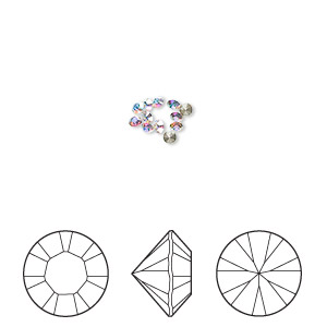 chaton, swarovski crystal rhinestone, crystal passions, crystal ab, 1.8-1.9mm xilion round (1028), pp12. sold per pkg of 12.