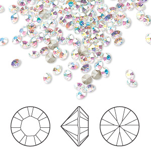 chaton, swarovski crystal rhinestone, crystal passions, crystal ab, foil back, 2.8-2.9mm xilion round (1028), pp22. sold per pkg of 144 (1 gross).