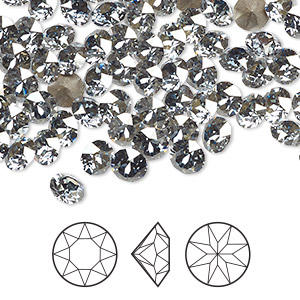 chaton, swarovski crystal rhinestone, crystal passions, crystal blue shade, foil back, 5.27-5.44mm xirius round (1088), ss24. sold per pkg of 12.