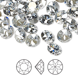 chaton, swarovski crystal rhinestone, crystal passions, crystal blue shade, foil back, 8.16-8.41mm xirius round (1088), ss39. sold per pkg of 4.