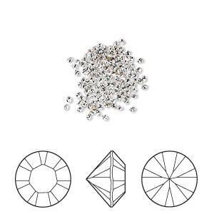 chaton, swarovski crystal rhinestone, crystal passions, crystal clear, foil back, 1.3-1.35mm xilion round (1028), pp6. sold per pkg of 144 (1 gross).