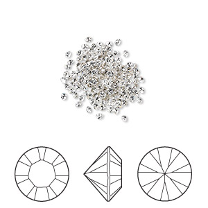chaton, swarovski crystal rhinestone, crystal passions, crystal clear, foil back, 1.4-1.5mm xilion round (1028), pp8. sold per pkg of 144 (1 gross).