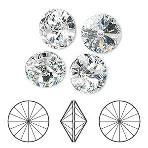 chaton, swarovski crystal rhinestone, crystal passions, crystal clear, foil back, 12mm faceted rivoli (1122). sold per pkg of 48.