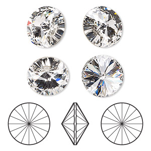 chaton, swarovski crystal rhinestone, crystal passions, crystal clear, foil back, 16mm faceted rivoli (1122). sold per pkg of 4.
