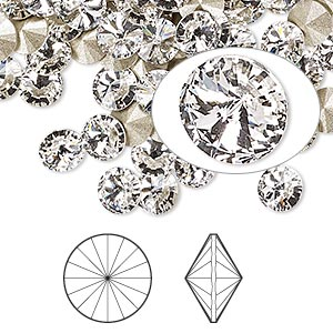 chaton, swarovski crystal rhinestone, crystal passions, crystal clear, foil back, 6.14-6.32mm faceted rivoli (1122), ss29. sold per pkg of 12.