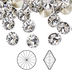 chaton, swarovski crystal rhinestone, crystal passions, crystal clear, foil back, 8.16-8.41mm faceted rivoli (1122), ss39. sold per pkg of 48.