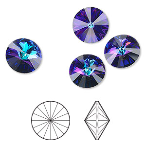 chaton, swarovski crystal rhinestone, crystal passions, crystal heliotrope, foil back, 14mm faceted rivoli (1122). sold per pkg of 4.