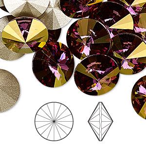 chaton, swarovski crystal rhinestone, crystal passions, crystal lilac shadow, foil back, 14mm faceted rivoli (1122). sold per pkg of 48.