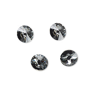chaton, swarovski crystal rhinestone, crystal passions, crystal silver night, foil back, 8.16-8.41mm faceted rivoli (1122), ss39. sold per pkg of 4.