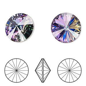 chaton, swarovski crystal rhinestone, crystal passions, crystal vitrail light, foil back, 18mm faceted rivoli (1122). sold per pkg of 36.