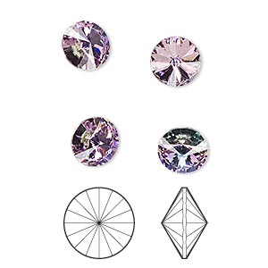 chaton, swarovski crystal rhinestone, crystal passions, crystal vitrail light, foil back, 8.16-8.41mm faceted rivoli (1122), ss39. sold per pkg of 4.