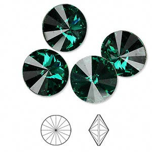 chaton, swarovski crystal rhinestone, crystal passions, emerald, foil back, 14mm faceted rivoli (1122). sold per pkg of 4.