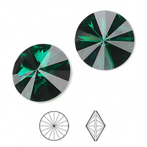 chaton, swarovski crystal rhinestone, crystal passions, emerald, foil back, 18mm faceted rivoli (1122). sold per pkg of 2.