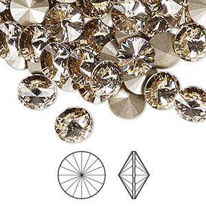 chaton, swarovski crystal rhinestone, crystal passions, light silk, foil back, 8.16-8.41mm faceted rivoli (1122), ss39. sold per pkg of 48.