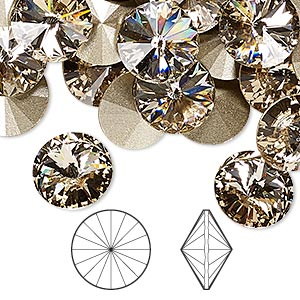 chaton, swarovski crystal rhinestone, crystal passions, light silk, foil back, 12mm faceted rivoli (1122). sold per pkg of 4.