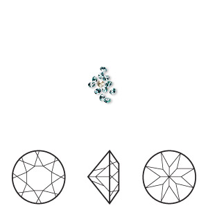 chaton, swarovski crystal rhinestone, crystal passions, light turquoise, foil back, 1.5-1.6mm xilion round (1028), pp9. sold per pkg of 12.