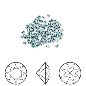 chaton, swarovski crystal rhinestone, crystal passions, light turquoise, foil back, 1.6-1.7mm xilion round (1028), pp10. sold per pkg of 144 (1 gross).