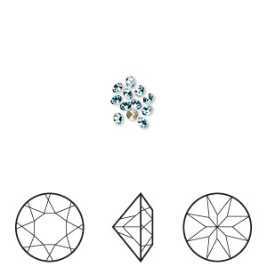 chaton, swarovski crystal rhinestone, crystal passions, light turquoise, foil back, 1.9-2mm xilion round (1028), pp13. sold per pkg of 12.