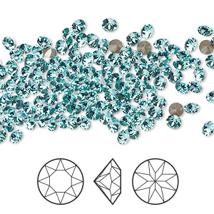 chaton, swarovski crystal rhinestone, crystal passions, light turquoise, foil back, 3-3.2mm xirius round (1088), pp24. sold per pkg of 144 (1 gross).