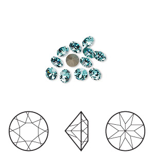 chaton, swarovski crystal rhinestone, crystal passions, light turquoise, foil back, 3.8-4mm xirius round (1088), pp31. sold per pkg of 12.
