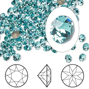 chaton, swarovski crystal rhinestone, crystal passions, light turquoise, foil back, 4-4.1mm xirius round (1088), pp32. sold per pkg of 12.