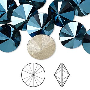 chaton, swarovski crystal rhinestone, crystal passions, metallic blue, foil back, 14mm faceted rivoli (1122). sold per pkg of 48.