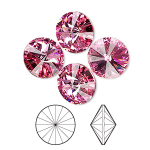 chaton, swarovski crystal rhinestone, crystal passions, rose, foil back, 14mm faceted rivoli (1122). sold per pkg of 4.