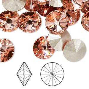 chaton, swarovski crystal rhinestone, crystal passions, rose peach, foil back, 12mm faceted rivoli (1122). sold per pkg of 48.
