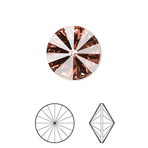 chaton, swarovski crystal rhinestone, crystal passions, rose peach, foil back, 14mm faceted rivoli (1122). sold per pkg of 48.