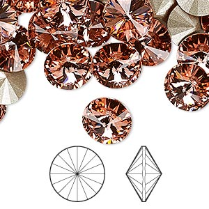 chaton, swarovski crystal rhinestone, crystal passions, rose peach, foil back, 10.54-10.91mm faceted rivoli (1122), ss47. sold per pkg of 48.