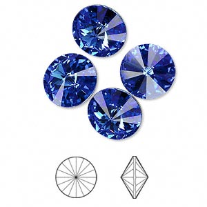chaton, swarovski crystal rhinestone, crystal passions, sapphire, foil back, 12mm faceted rivoli (1122). sold per pkg of 4.