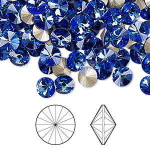 chaton, swarovski crystal rhinestone, crystal passions, sapphire, foil back, 6.14-6.32mm faceted rivoli (1122), ss29. sold per pkg of 12.