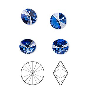 chaton, swarovski crystal rhinestone, crystal passions, sapphire, foil back, 8.16-8.41mm faceted rivoli (1122), ss39. sold per pkg of 4.