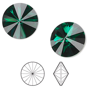 chaton, swarovski crystal rhinestone, emerald, foil back, 18mm faceted rivoli (1122). sold per pkg of 72.