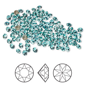 chaton, swarovski crystal rhinestone, light turquoise, foil back, 2.7-2.8mm xirius round (1088), pp21. sold per pkg of 1,440 (10 gross).