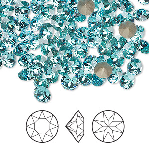 chaton, swarovski crystal rhinestone, light turquoise, foil back, 5.27-5.44mm xirius round (1088), ss24. sold per pkg of 720 (5 gross).