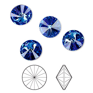 chaton, swarovski crystal rhinestone, sapphire, foil back, 14mm faceted rivoli (1122). sold per pkg of 144 (1 gross).