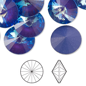 chaton, swarovski crystal rhinestone with third-party coating, crystal passions, ultra purple ab, 16mm faceted rivoli (1122). sold per pkg of 2.