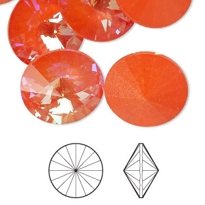 chaton, swarovski crystal rhinestone with third-party coating, crystal passions, ultra orange ab, 18mm faceted rivoli (1122). sold per pkg of 2.