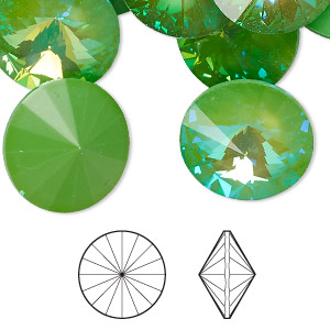 chaton, swarovski crystal rhinestone with third-party coating, crystal passions, ultra green ab, 18mm faceted rivoli (1122). sold per pkg of 2.