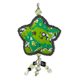 circle of hope focal, polymer clay and swarovski crystals, peridot green and black, 71x40mm star. only one available.